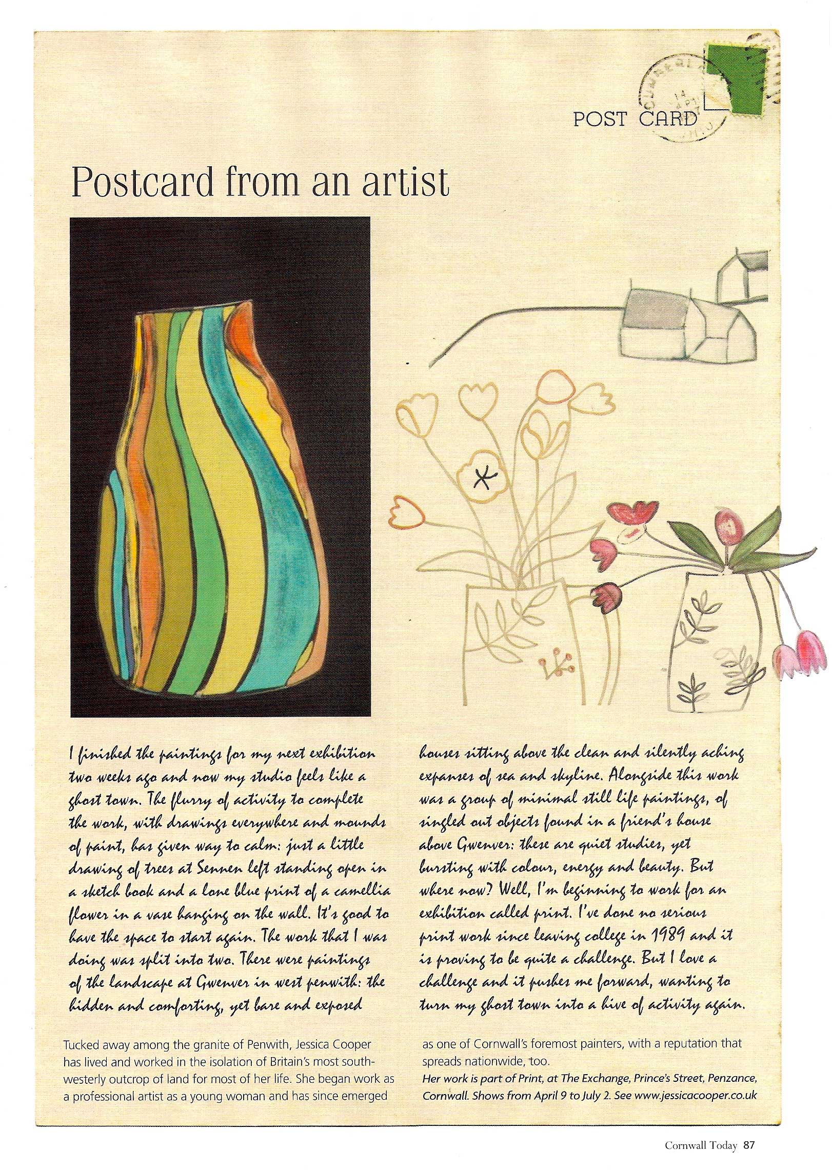 cornwall today : may issue : postcard from an artist