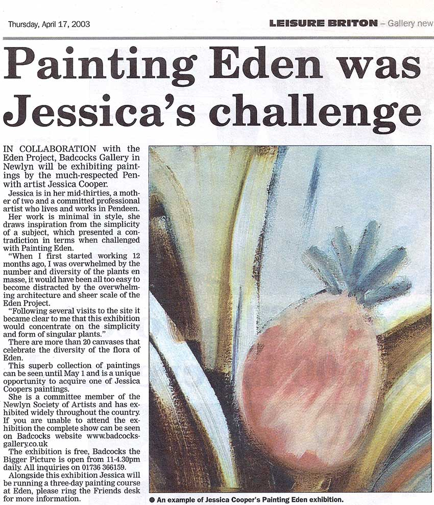 2003 the west briton : april 17th : exhibition review : painting eden :